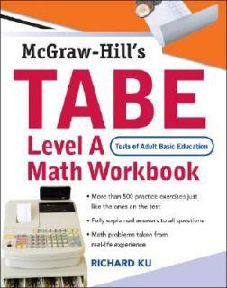TABE Level A Math Workbook by Richard Ku 2007, Paperback, Workbook
