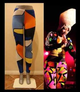 NEON GRAPHIC DESIGN CELEBRITY LEGGINGS PANTS STRETCHY GEOMETRIC NICKI