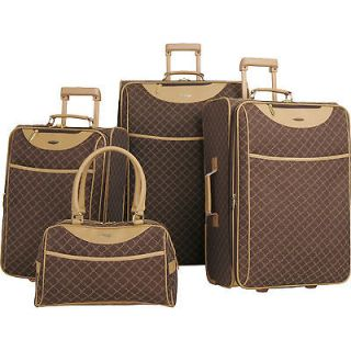 PIERRE CARDIN SIGNATURE BROWN EXPANDABLE 4 PIECE LUGGAGE SET $860 NEW