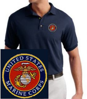 US Marine Corps Logo EMBROIDERED Navy Blue Polo Shirt USMC New