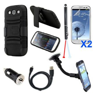 7in1 Case Car mount Charger Accessory Bundle Kit For Samsung Galaxy S3
