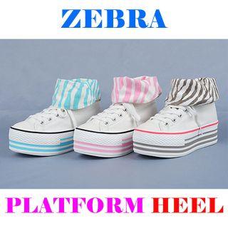 pink zebra high heels in Clothing,