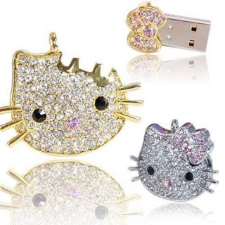 32GB USB Flash Drive Hello Kitty Head Crytal Blingbling Rhinestore