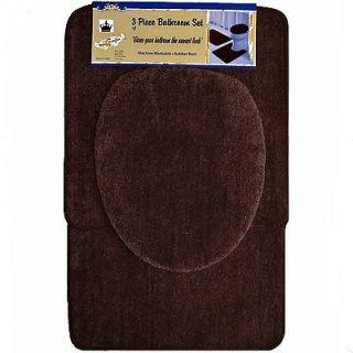 Piece Brown Bathroom Set Bath Contour Rug, Lid Toilet seat Cover