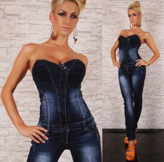 SEXY HIGH QUALITY WOMENS DENIM JEANS OVERALL BIB JUMPSUIT BLUE SIZE 8