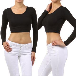 black long sleeve crop top in Tops & Blouses