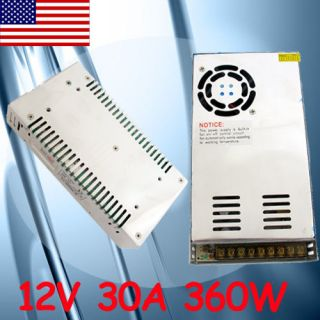 New 12V DC 30A 360W Regulated Switching Power Supply for LED Strip