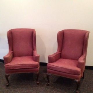 Ethan Allen Winged Back Queen Anne Chairs