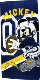 San Diego Chargers NFL Disney Mickey Mouse Quarterback Beach Towel 30