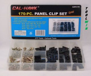 170 pc. Car Door Panel Clip & Screw Assortment Set Interior Trim Metal