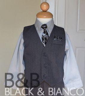 Boys 4 Piece Pinstrips Gray Vest Suit Shirt Tie 4P Size 2 3 4 5 6 7 8