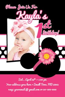 MINNIE MOUSE Printable 1st Birthday Party Invitation Baby Shower