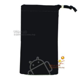 Black Android Velvet Pouch Bag Case For Sony Xperia Arc S neo ZTE