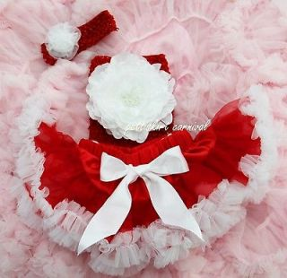 Newborn Baby Red White Pettiskirt Tutu Peony Tube Top Rosette Headband
