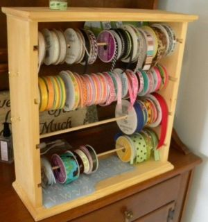 RIBBON STORAGE RACK HOLDS 100 PLUS SPOOLS NATURAL GLOSS  HANDCRAFTED