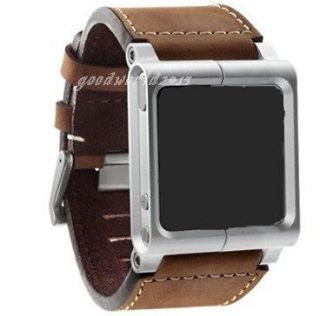 Brown )New LunaTik Leather Aluminum Watch Band Wrist Strap for