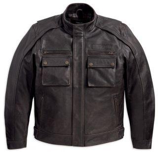Harley Davidson Mens Alliance Dark Brown Leather Trail Style Jacket