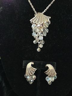 AURORA BOREALIS Vintage Gold Fan Cornacopia Necklace Clip Earring Set
