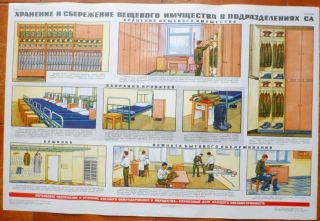 RUSSIAN SOVIET MILITARY ARMY POSTER STORAGE UNIFORM BARRACKS SOLDIERS
