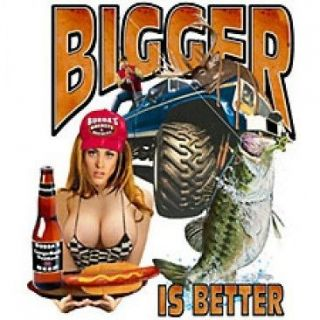 Bigger Is Better ! S 5X T Shirt Fisherman Bass Fish Angler Tee 6.99up