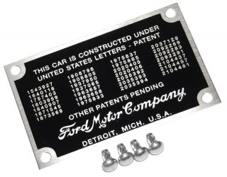 1940 48 FORD PATENT DATA PLATE RIVETS RAT HOT ROD TAG BODY ID VTG