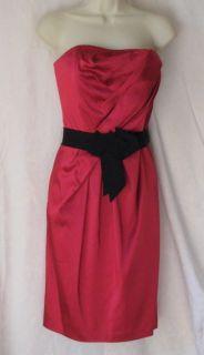 HOUSE BLACK MARKET RED SATIN STRAPLESS DRESS SIZE 8 BLACK TIE WAIST
