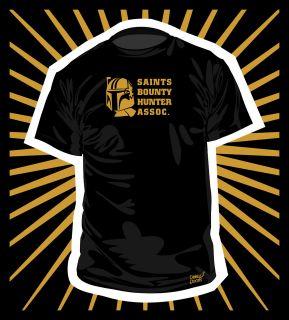 SAINTS BOUNTY HUNTER BLACK AND GOLD TEE SHIRT T SHIRT   NOLA NEW