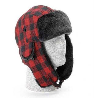 Buffalo Plaid Bomber Trapper Winter Wool Hat Cap NWT #644