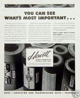 1939 Hewitt Rubber Corporation Hose Conveyor Transmission Belt Packing