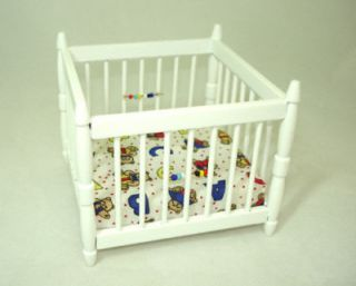 Dollhouse Miniature White Wood Baby Playpen Miniatures