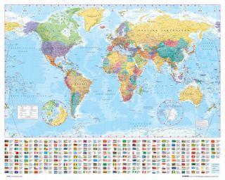 WORLD MAP MINI POSTER MP0564 40X50 CMS TUBE ATLAS GLOBE FLAGS POS8