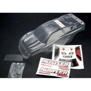 Traxxas 3714 Truck Body Clear with Decals, Wing & Hardware Rustler