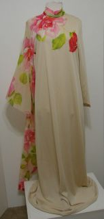 Vintage Lilli Diamond Knit W/Chiffon Silk Rose Print XL Angel Wing