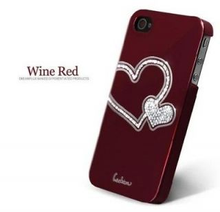 New Wine Red Love Swarovski Diamond Crystal Hard Case Cover For iphone