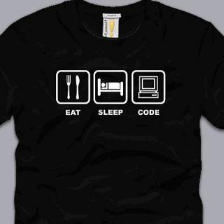 EAT SLEEP CODE T SHIRT 2XL funny programmer developer html linux nerd