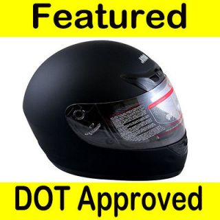 Motorcycle Full Face Sports Bike Street Helmet Matte Black DOT Size M