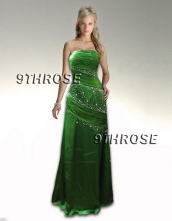 TRULY ALLURING BEADED STRAPLESS EMERALD GREEN FORMAL/PROM/EVENING