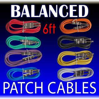 pack mixed color 6 ft foot 1/4 TRS stereo balanced patch cable rack