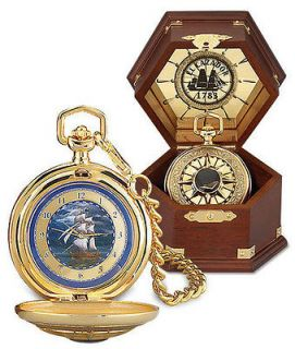 Franklin Mint El Cazador POCKET WATCH B11E648 Wooden Display Case