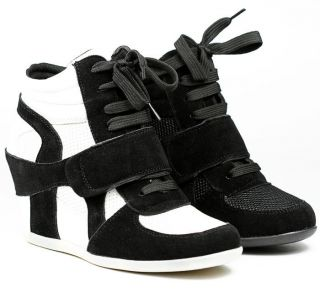 HIGH TOP FASHION SNEAKERS WEDGE ANKLE BOOT BOOTIE NATURE BREEZE DANA