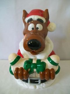 HANNA BARBERA 1997 SCOOBY DOO WITH BONE CHRISTMAS COOKIE JAR #D1157