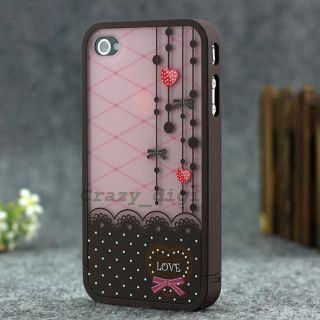 fashion cute lovely Hard Cover Skin case for iPhone 4 4S+Free Screen