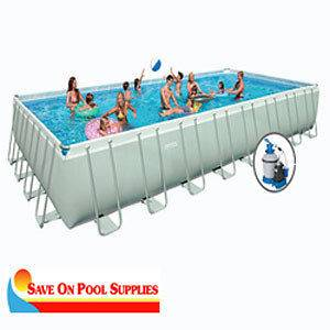 Intex 16x32x52 Ultra Frame Rectangular Above Ground Swimming Pool