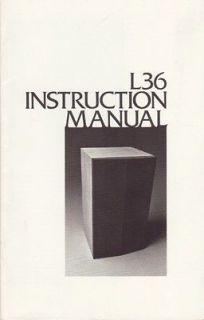 JBL Original L36 Speaker Owners Manual 1976