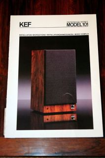 KEF Reference Series 101 Speaker Owners Manual Original