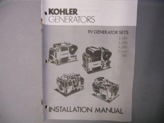 Kohler Generators Installation Manual 3.5 RV 4.5 RV 7 RV