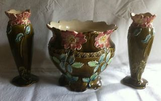 VERY RARE ANTIQUE MAJOLICA FRENCH CACHE POT FIVES LILLE WITH TWO VASES