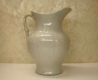 Rare Antique Salt Glaze Stoneware Art Pottery Water Pitcher Ewer Jug