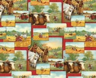 Horse Drawn Farm Equip ~ 100% Cotton Quilt Fabric BTY