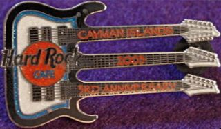 Rock Cafe CAYMAN ISLANDS 2003 3rd Anniversary Triple Neck Guitar PIN